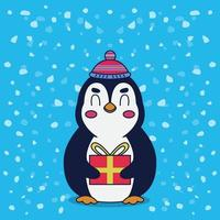 penguin gift from santa claus vector