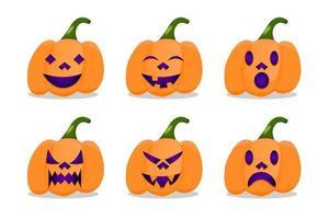 flat set character pumpkin halloween expression vector