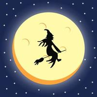 witch silhouette over a dark halloween night sky vector