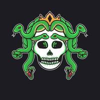 hand drawn tattoo skull medusa good for t-shirt vector
