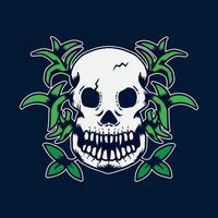 hand drawn tattoo skull good for t-shirt vector