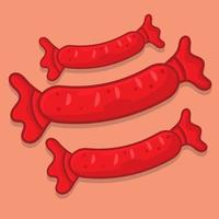 sausage isolated cartoon illustration in flat style vector