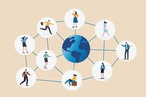 Global network community, offshore or remote work around the world vector
