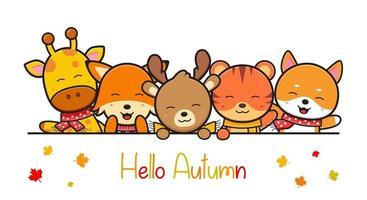 happy cute animal in autumn banner icon cartoon illustration vector
