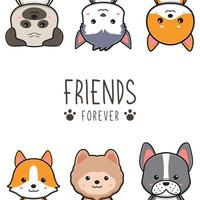 Cute dog friends forever card doodle cartoon illustration vector