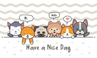 Cute dog and friends greeting card doodle cartoon icon illustration vector