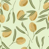 Seamless pattern of olives branch with leaves. Flat illustration. vector