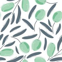 Seamless pattern of modern blue olives with leaves. Flat illustration. vector