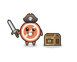 the stop sign pirate character holding sword beside a treasure box vector