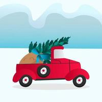 Red car carries a Christmas tree and a bag of gifts vector