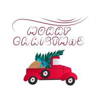 Red car carries gifts in a sack and a Christmas tree. vector