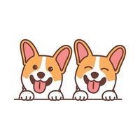 Cute corgi dog smiling cartoon, vector illustration