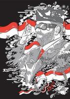 presidente de indonesia mostrando su respeto por el saludo del 10 de noviembre vector