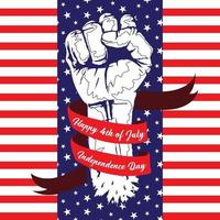 illustration of fist with banner fourth of july independence day vector