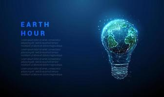 Low poly abstract blue glowing light bulb. vector