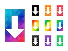Set of transparent arrow down pointer in colorful rectangle shape vector