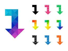 Set of colorful arrow left to down pointer vector