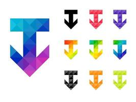 Set of colorful arrow down pointer vector