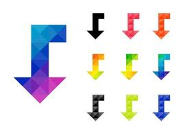 Set of colorful arrow right to down pointer vector