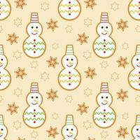 Snowmen and snowflakes Christmas gingerbread seamless pattern vector