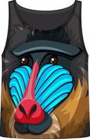 Tank top with face of mandrill monkey pattern vector