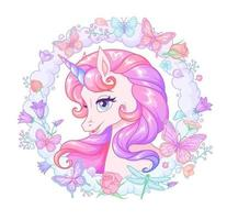 Cute pink unicorn with flowers and butterflies vector illustration