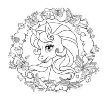 Cute unicorn with flowers and butterflies vector coloring page