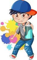 personaje de dibujos animados de gángster adolescente vector