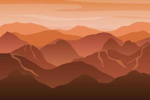 Beautiful orange mountain silhouette landscape at sunset. vector