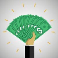 Businessman hand holding a lot of dollar bills vector