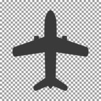 Black airplane icon on transparent background vector