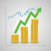 Stack of coins rising and arrow graph vector