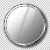 Realistic round mirror with metal frame on transparent background vector