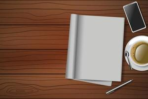 wooden table with open blank notebook, pen, coffee cup and smartphone vector
