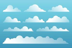 Set of cartoon clouds on blue background vector
