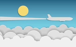 Paper airplane flying above clouds in blue sky vector