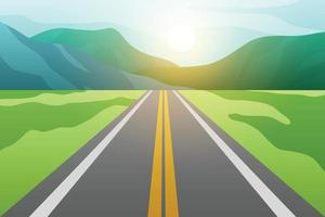 Asphalt road with fields and mountains with sunset. vector