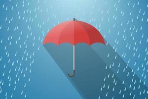 Red umbrella with rain drops. vector