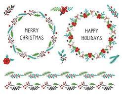 Set of christmas floral frame illustration vector