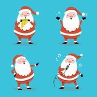 Set of hand drawn style cartoon Santa Claus. Vector illustration