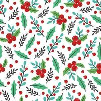 Christmas floral seamless pattern vector