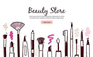 Hand drawn template with makeup beauty cosmetic vector