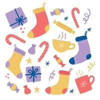 Christmas decoration sock with candy and sweet vector