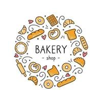 Hand drawn set of bakery and baking elements. Vector illustration.