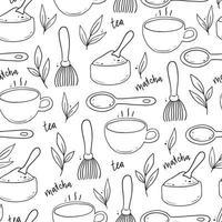 Seamless pattern of hand drawn matcha tea elements. vector
