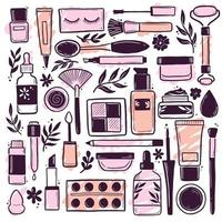 Hand drawn set of makeup beauty cosmetic elements vector