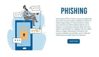 Online scammer, cyber hacker concept. Vector illustration.