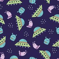 Cute childish seamless pattern of space vector