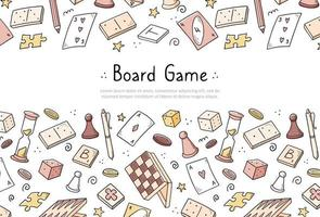 Hand drawn banner template of board game vector