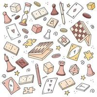 Hand drawn set of board game element vector